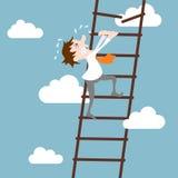 Businessman character career development concept. Abstract businessman character on ladder career development path concept vector illustration Royalty Free Stock Photo