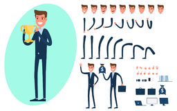 Businessman character creation set for animation.. Parts of body template.Businessman Holding Golden trophy success concept. Different emotions, poses and Stock Photography
