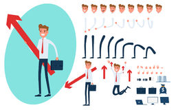 Businessman character creation set for animation.  Stock Photos