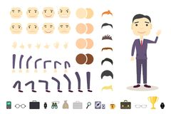 Businessman character creation set. Build your own design. Cartoon vector flat-style. White background. Vector.  Royalty Free Stock Photography