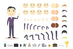 Businessman character creation set. Build your own design. Cartoon vector flat-style. White background. Vector.  Royalty Free Stock Images