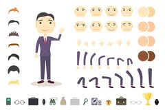 Businessman character creation set. Build your own design.. Cartoon vector flat-style. White background. Vector Royalty Free Stock Photo