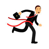 Businessman character crossing finish line, business challenge and success  Illustration. On a white background Royalty Free Stock Image