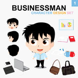 Businessman : Character Design Set. Businessman Character & Accessories & objects in office Royalty Free Stock Images