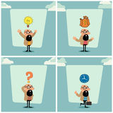 Businessman character in different pose. Stock Photos