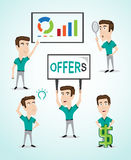 Businessman character with different poses Stock Photo