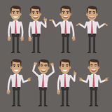 Businessman character in different poses Royalty Free Stock Images