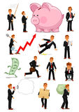 Businessman character in different situations set Royalty Free Stock Images