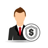 Businessman character dollar shield icon Royalty Free Stock Photo