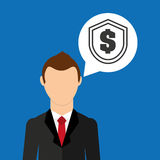 Businessman character dollar shield icon Stock Photography