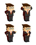 Businessman character emotions. Vector 3d flat businessman character emotions on white background Stock Photography