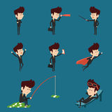 Businessman character flat design collection Stock Photography
