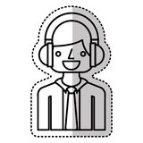 businessman character with headset isolated icon Stock Photos