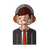 businessman character with headset isolated icon Stock Image