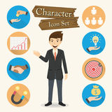 Businessman character Icon set vector Stock Photo