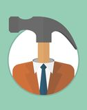 Businessman_character_icons_with_hammer 免版税库存照片
