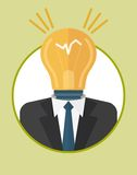 Businessman_character_icons_with_lamp Royalty Free Stock Images
