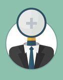 Businessman_character_icons_with_loupe Obrazy Stock