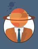 Businessman_character_icons_with_planet 免版税库存图片