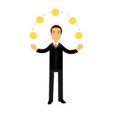 Businessman character juggling with gold dollar coins, successful financier Illustration. On a white background Royalty Free Illustration