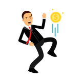 Businessman character kicking dollar coin like football player Illustration royalty free illustration