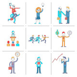Businessman character line icons set Stock Images