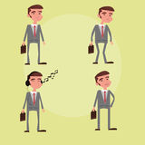 businessman character male set cartoon vector Royalty Free Stock Photos