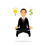 Businessman character meditating in lotus pose and have successful business idea  Illustration Royalty Free Stock Images