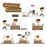 Businessman character on office worker set vector illustration.  Stock Photo
