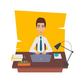 Businessman character on office worker set vector illustration. Royalty Free Stock Photos