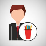Businessman character pencil holders concept. Vector illustration eps 10 Royalty Free Stock Photos
