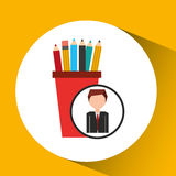 Businessman character pencil holders concept. Vector illustration eps 10 Royalty Free Stock Photography