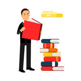 Businessman character reading books and getting knowledge, business competition Illustration royalty free illustration
