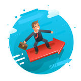 Businessman character riding on the infographic arrow growth success flat design vector illustration. Businessman character riding on infographic arrow growth Royalty Free Stock Photos