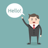 Businessman character saying hello Royalty Free Stock Photos