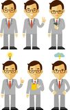 Businessman character set in different poses Stock Photo
