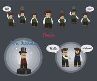 Businessman character set with some icons and speech bubbles royalty free illustration
