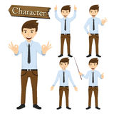 Businessman character set vector illustration Royalty Free Stock Photography