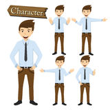 Businessman character set vector illustration Royalty Free Stock Photos
