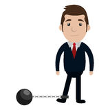 Businessman character with slave fetter icon Royalty Free Stock Images