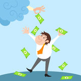 Businessman character under money rain Royalty Free Stock Photo