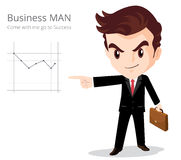 Businessman character. Vector of Business man character look so smart pointing graph go to success Stock Photos