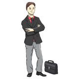 Businessman character on a white background. A successful man in suit. Vector Illustration Stock Photos
