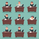 Businessman character work office desktop set cartoon design vector illustration Royalty Free Stock Photo