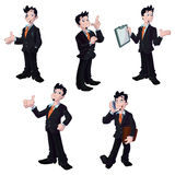 Businessman characters. A set of illustrated business men in different poses Royalty Free Stock Photos