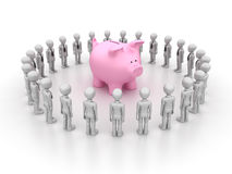 Businessman Characters and Piggy Bank Royalty Free Stock Photos