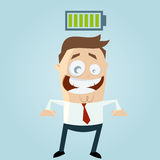 Businessman with charged battery over his head. Funny businessman with charged battery over his head Royalty Free Stock Photo