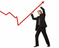 Businessman and chart Stock Images