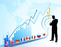 Businessman on chart background with Graph Royalty Free Stock Photography