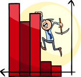 Businessman on chart cartoon Royalty Free Stock Image